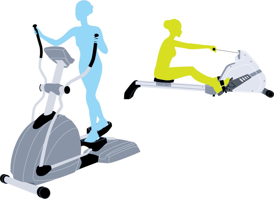 Image d'Une Femme s'entrainant Sur Un Rameur Et Une Femme faisant de l'exercice Sur Un Elliptique