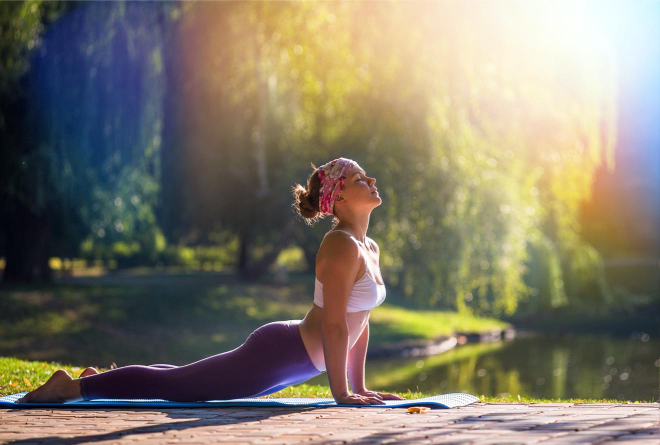 Une Jeune Femme Fait Du Yoga Dans La Nature