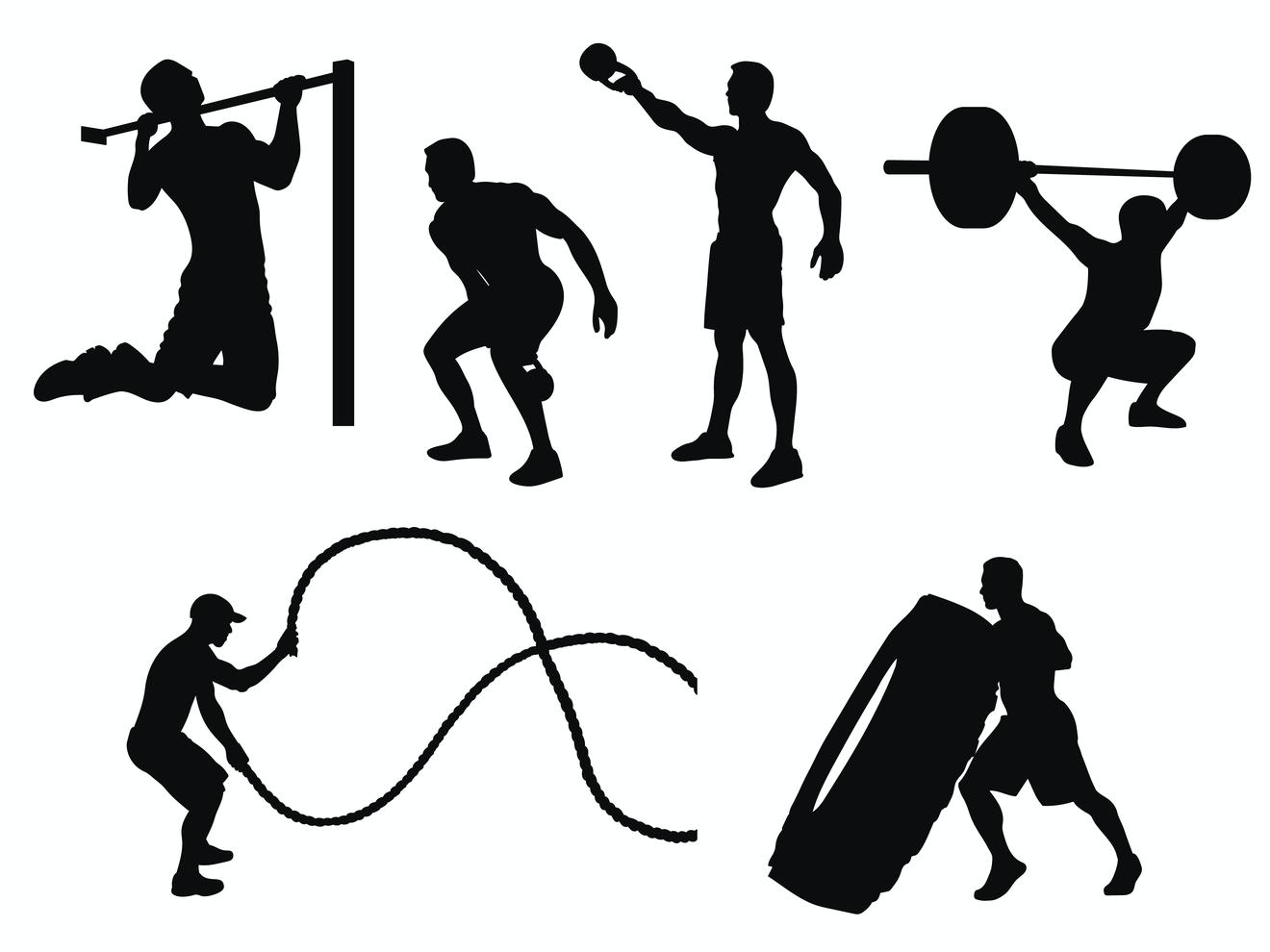 Silhouettes d'Hommes pratiquant Différents Exercices de Crossfit